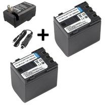 Kit 2 Baterias Bp-2l24h + 1 Carregador Para Canon Vixia Hv40