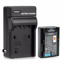 Kit Bateria Fh50 + Carregador Np-fh50 Câmera Sony Dcr-dvd650