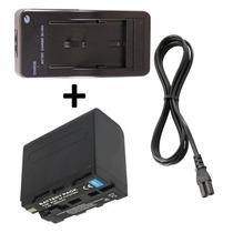 Kit Bateria Np-f960 + Carregador P/ Sony Handycam Ccd Tr Trv