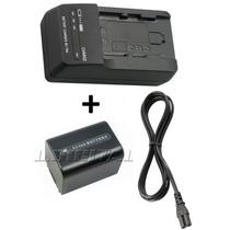 Kit Bateria Np-fh50 + Carregador P Sony Hx1 Hx100v Hx200v