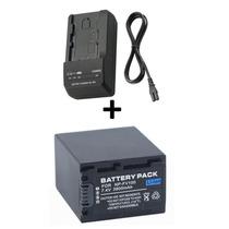 Kit Bateria Np-fv100 + Carregador P/ Sony Handycam Hdr-pj340