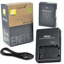 Kit Carregador + Bateria Nikon En-el14 Original Mh-24
