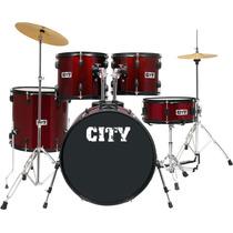 Bateria Acústica Planet City Completa 22 C1019wr Vinho