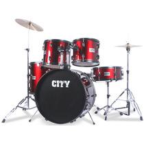 Bateria Acústica Planet City Completa 22 C1019rd Vermelha