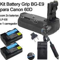 Kit Battery Grip Bg-e9 P/ Canon 60d 60da Bateria Carregador