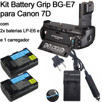 Kit Battery Grip Bg-e7 Para Canon Eos 7d Baterias Carregador