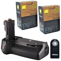 Kit Battery Grip Para Nikon D5100 D5200 D5300 + 2 En-el14