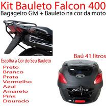 Kit Falcon 400 -bagageiro Givi+ Bau Proos 41l Na Cor Da Moto