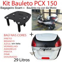 Kit Pcx 150 - Bagageiro Scam + Bau Proos 29l Na Cor Da Moto