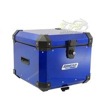 Bauleto Baú Traseiro Alumínio 35 Lts + Base Universal Azul