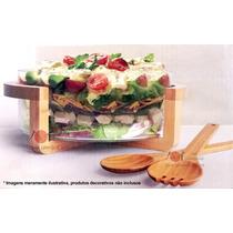 Saladeira De Vidro Com Rack E Acessórios Em Bambu 4 Pçs