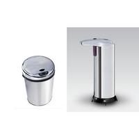 Kit Lixeira 06 Lts E Saboneteira Inox Automática Com Sensor