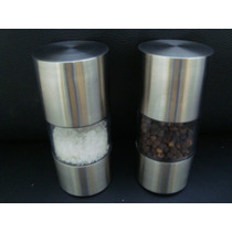 Kit 2 Moedor Triturador De Pimenta E Sal, Em Inox Cozinha