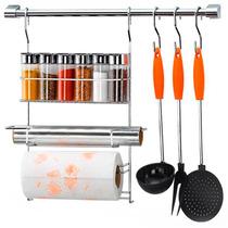 Kit Suporte De Cozinha Luxo Cook Home Arthi 12 Peças Cromado
