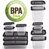 Jogo De 12 Potes Plastico Com Tampa Para Freezer Microondas