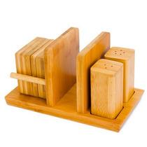 Jogo Mesa Saleiro Pimenteiro Porta Copos 9 Peças Bambu Bmb05