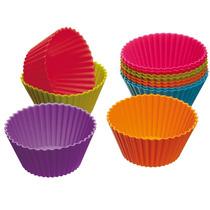 Kit Com 12 Formas Silicone Redonda Cupcake Tamanho Grande