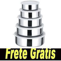 Frete Gratis + Kit Conjunto De Potes Em Aço Inox Com 5 Pçs