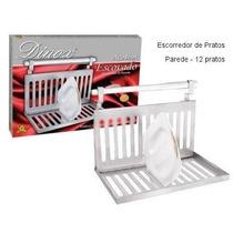Escorredor Inox De Parede Com Barra 12 Pratos - Completo