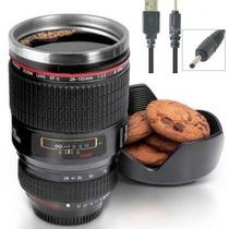 Caneca Mixer Termica Lente Fotografica Canon Via Usb / Pilha