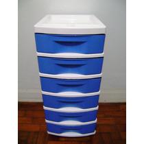 Gaveteiro Plástico Na Cor Azul E Branco Com 6 Gavetas
