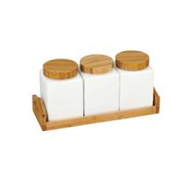 Porta Condimentos Com Base Em Bambu - Kg Home