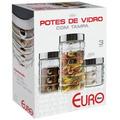 Conjunto Potes Vidro Para: Café Açúcar 3 Peça -euro Home D50