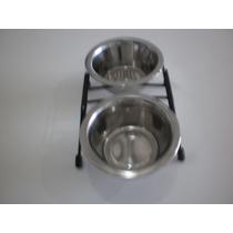 Comedouro E Bebedouro Para Cães E Gatos ( Aço Inox) (250ml )
