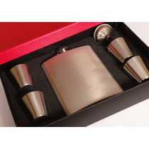 Kit Cantil Porta Bebida Bolso Inox C/4 Copos 1 Funil 240ml