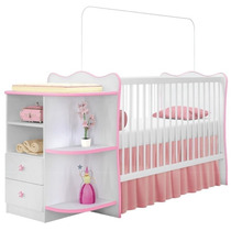 Berço C/ Cômoda Doce Sonho Quarto Infantil Bebê Branco Rosa