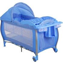 Berço Cercado Portátil Standard Check Blue Burigotto