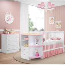 Jogo De Quarto Infantil Berço Cômoda Doce Sonho Branco Rosa