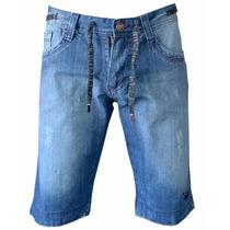 Bermuda Jeans Masculina Onbongo Mesclado Com Cordão