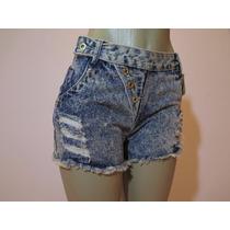 Shorts Jeans Feminino Manchado Sem Strech.