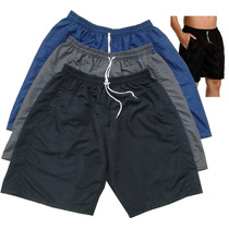 Kit C/ 3 Bermudas Shorts Tactel Masculina Mauricinho Lisa