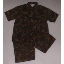 Bermuda E Camisa Manga Curta, Brim, Conj. Nomura Camuflado P