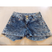 Shorts Jeans Feminino Manchado Com Strech.