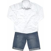 Conjunto Infantil Camisa Branca + Bermuda Jeans Marisol