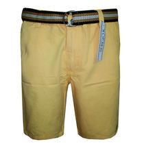 Bermuda Jeans Sergio K Amarela Lisa Com Cinto