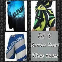 Kit C/ 3 Bermudas Tactel Várias Marcas De Surf