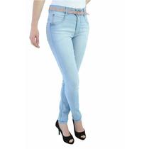 Linda Calça Jeans Cintura Alta Feminina Com Cinto