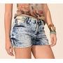 Short Jeans Feminino Lavagem Manchada Tamanho Grande (46)