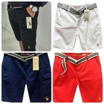 Kit 5 Bermudas Sarja Jeans C/ Cinto Masculina Grandes Marcas