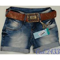 Bermuda Jeans Com Cinto Oppnus Feminina Lycra Coleção 2016