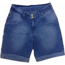 Bermuda Ciclista Feminina Jeans Delave C/ Elastano Plus Size