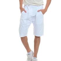 Bermuda Masculina Short Stanley Golpe Fatal Jeans E Branco