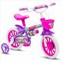 Bicicleta Infantil Feminina Nathor Aro 12 Violeta Com Branco