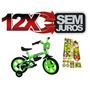 Bicicleta Infantil Aro 12 Masculina Verde E Adesivos Ben 10