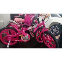 Bicicleta Infantil Caloi Da Barbie Aro 16 Com Capacete