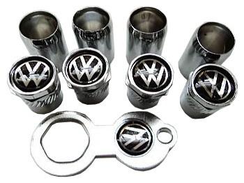 Bico De Pneu Cromado Volkswagen Fundo Preto Frete Gratis